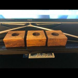 💜 3 pc. Set  Wooden block tea light candle holder